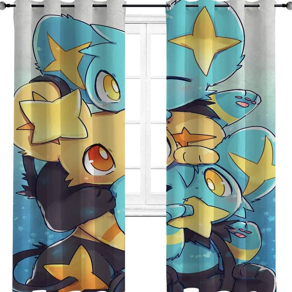 Cortinas opacas con aislamiento térmico de Pokémon shinx para dormitorio/sala de estar con diseño de anime, poliéster, multicolor, 2 panel(32