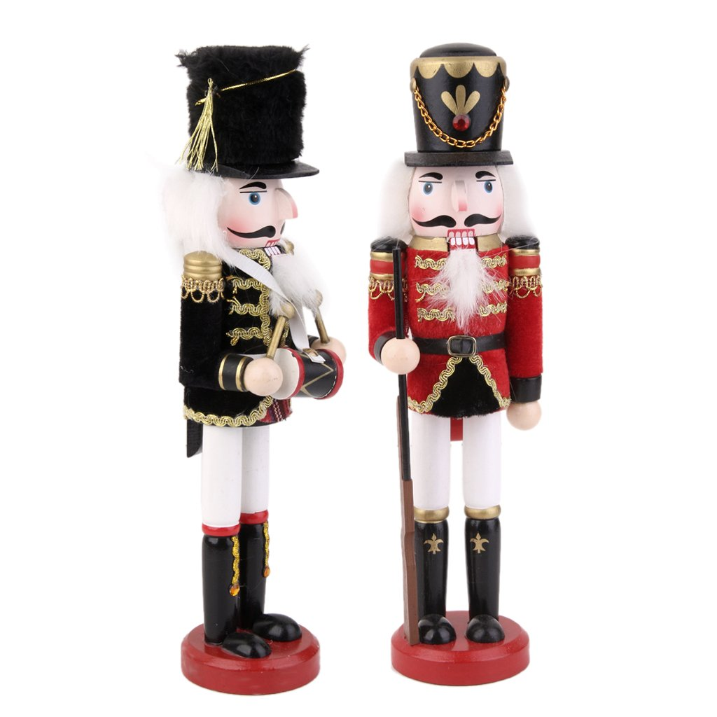 MagiDeal 2 Pezzi Burattino Pupazzo Bambola Soldato Figura Modello Schiaccianoci Decorazione Natale
