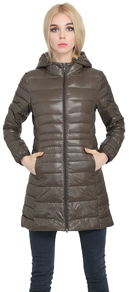 a9b18f0bd Sawadikaa Women's Lightweight Hooded Long Down Outerwear Puffer Jacket Coat  Windbreaker Outdoor Quilted Down Parka Jacket