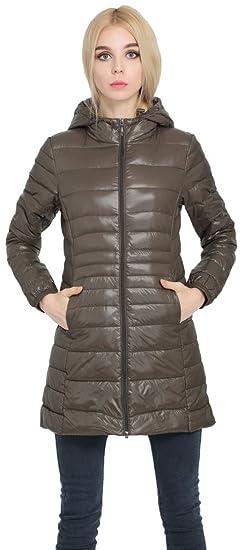 1085fbee5 Sawadikaa Women's Lightweight Hooded Long Down Outerwear Puffer Jacket Coat  Windbreaker Outdoor Quilted Down Parka Jacket