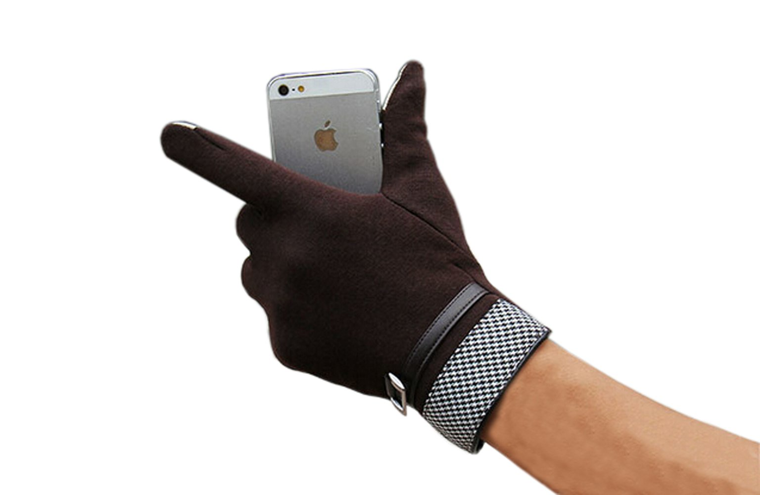 Olyer Men's Mirco Velvet Gloves Warmer Gloves With Touch Screen Finger Tip (Coffee) by Olyer (Image #5)