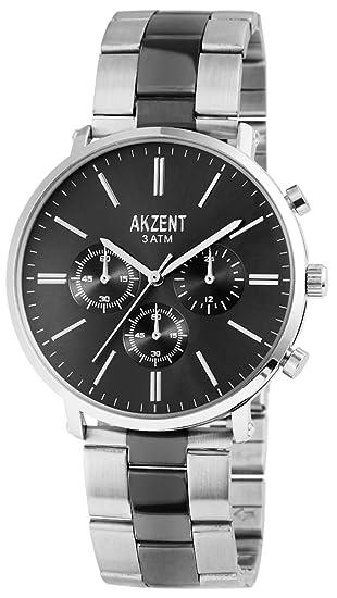 Akzent Reloj de hombre con acero inoxidable Pulsera Color Plata Antracita moderna elegante Hombre Reloj de pulsera Chrono Look: Amazon.es: Relojes