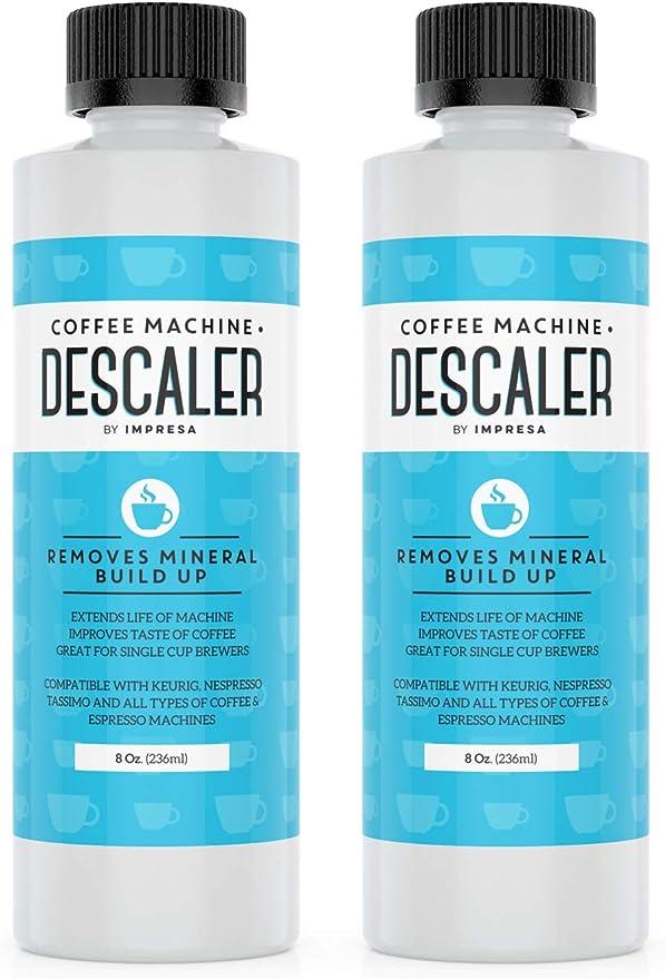 Descalcificador universal (2 unidades, 2 usos cada botella), fabricado en los Estados Unidos, para cafeteras Keurig, Nespresso, Delonghi, de cápsulas y expreso ...