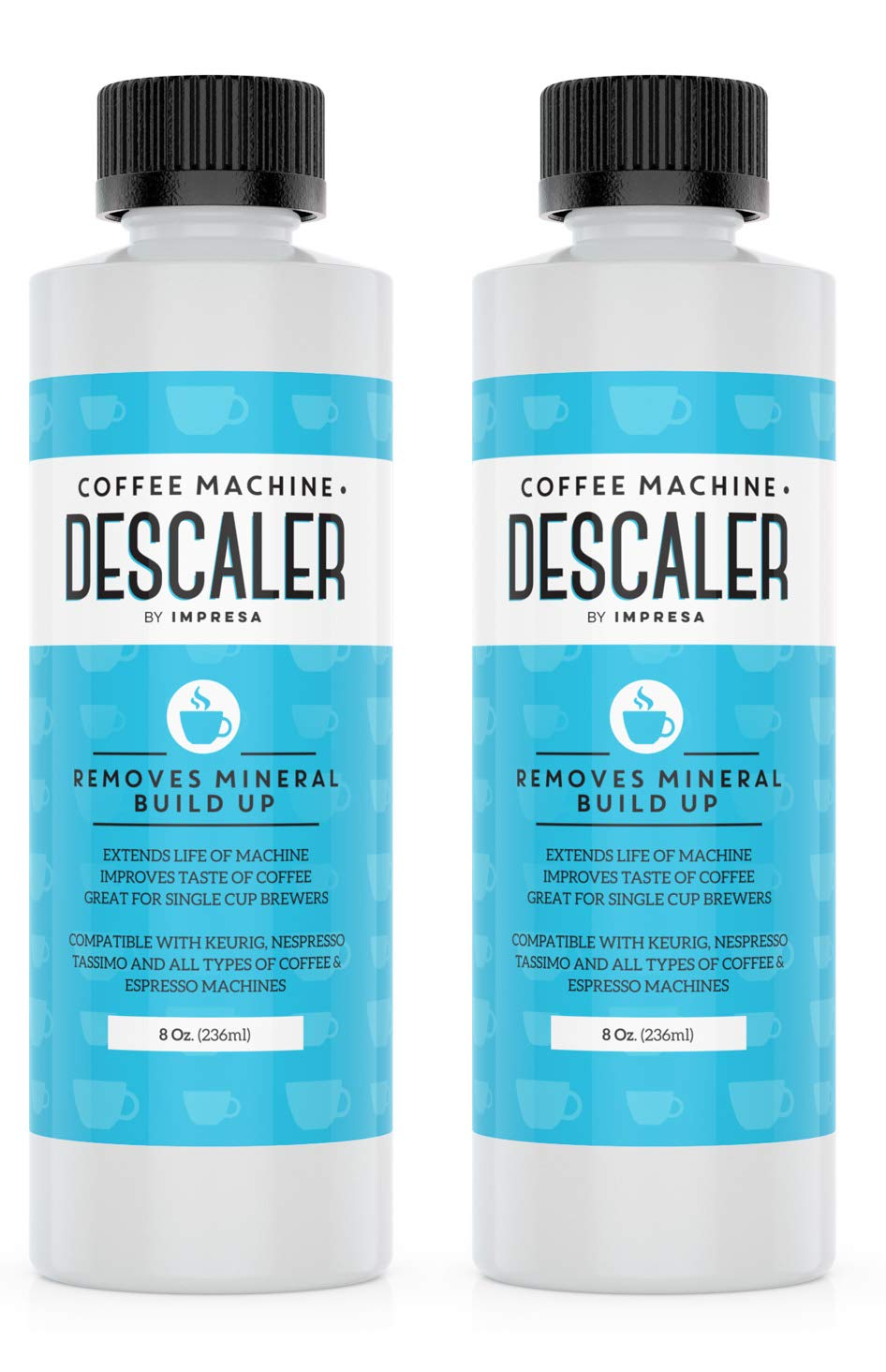 Descaler (2 Pack, 2 Uses Per Bottle) – Made in the USA – Universal Descaling Solution for Keurig, Nespresso, Delonghi and All Single Use Coffee and Espresso Machines
