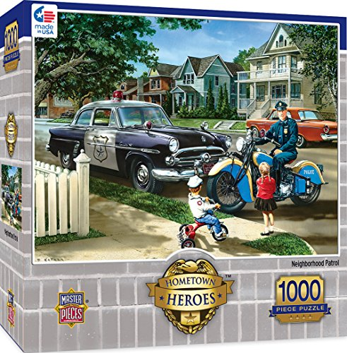 MasterPieces Hometown Heroes Neighborhood Patrol - Vintage Police Vehicles 1000 Piece Jigsaw Puzzle by Dan Hatala (Chipboard Home)