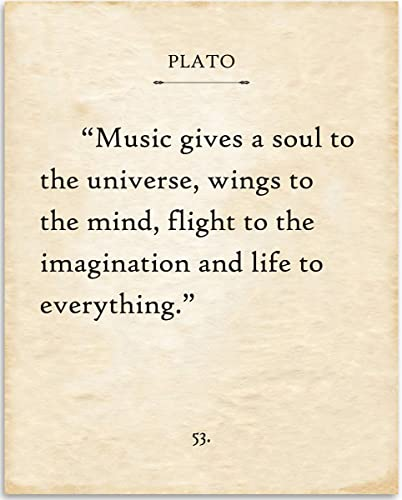 Plato - Music Gives A Soul To The Universe - 11x14 Unframed Typography Book  Page Print - Great Gift for Musicians and Music Lovers, Also Makes a Great