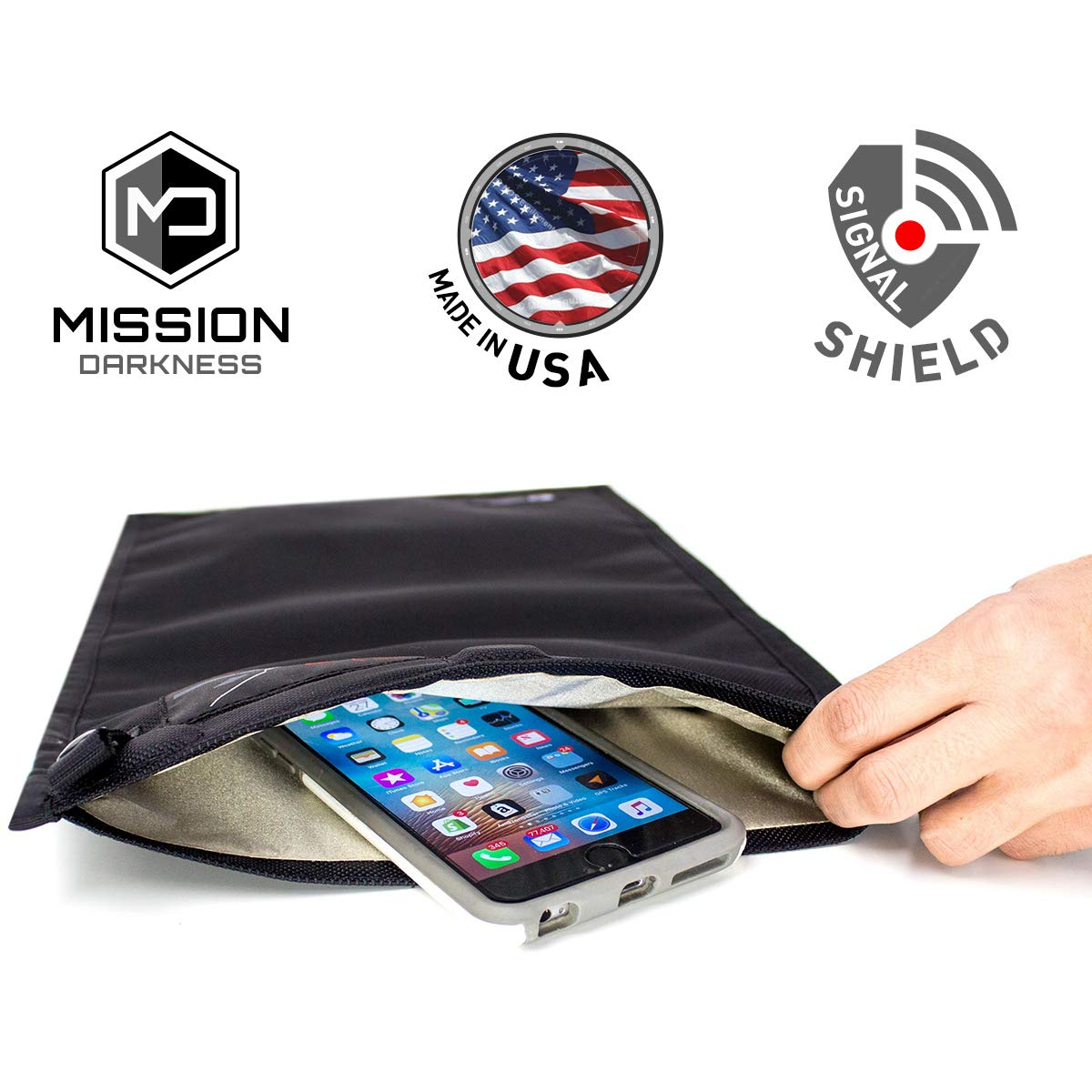 Mission Darkness Medium NeoLok Faraday Bag with Magnetic Closure // Tablet Size Device Shielding for Law Enforcement & Military, Travel & Data Security, Anti-Hacking & Anti-Tracking Assurance by Mission Darkness