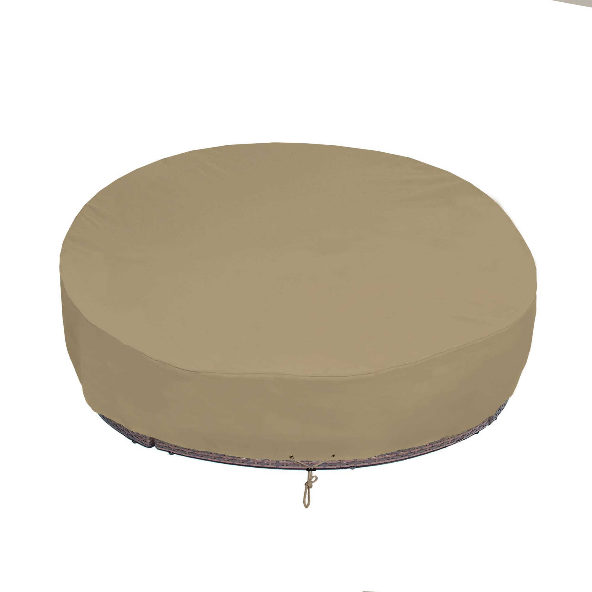 SunPatio Round Patio Daybed Cover 75 Inch, Outdoor Canopy Daybed Sofa Cover with Waterproof Sealed Seam, Fadestop, All Weather Protection, Taupe by SunPatio