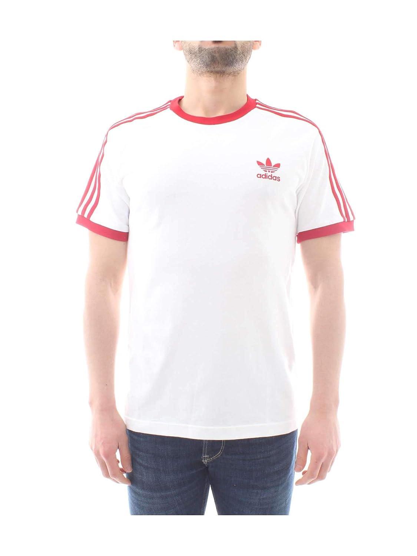 adidas Originals T Shirt Herren 3 Stripes Tee DY1533 Weiss Rot, Größe:XL