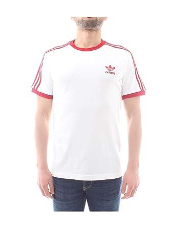 outlet store 8304f e9f25 adidas Originals T-Shirt Herren 3-Stripes Tee DY1533 Weiss Rot, Größe:XL