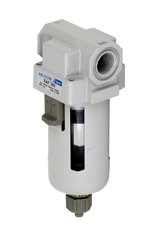 PneumaticPlus Saf300-g03b comprimé de filtre à particules d'air 3/8' bspp, 10 micron - bol poly, vidange manuelle, le support