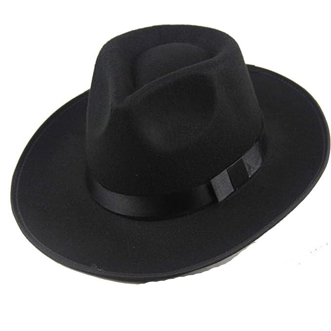 b8b243c00e10 Winter Vintage Warm Sun-Shade Panama Fashion Gangster Cap Hard Wide Brim  Fedora Trilby Felt