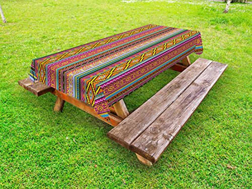 Lunarable Ethnic Outdoor Tablecloth, Folk Aztec Pattern with Native American Tribal Effects and Geometric Forms Artwork, Decorative Washable Picnic Table Cloth, 58 X 120 Inches, - Table 120 In Work