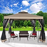 Cloud Mountain Garden Gazebo Polyester Fabric 10' x 10' Patio Backyard Double Roof Vented Gazebo Canopy with Mosquito Netting, Sand