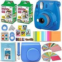 Fujifilm Instax Mini 9 Cámara Instantánea Azul Cobalto + Película Fuji INSTAX (40 hojas) + Paquete de accesorios + Estuche personalizado con correa + Marcos variados + Álbum de fotos + 60 Marcos adhesivos coloridos + Más
