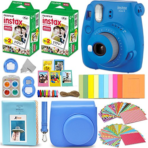 Fujifilm Instax Mini 9 Instant Camera Cobalt Blue + Fuji INSTAX Film (40 Sheets) + Accessories Kit Bundle + Custom Case with Strap + Assorted Frames + Photo Album + 60 Colorful Sticker Frames + More from HeroFiber