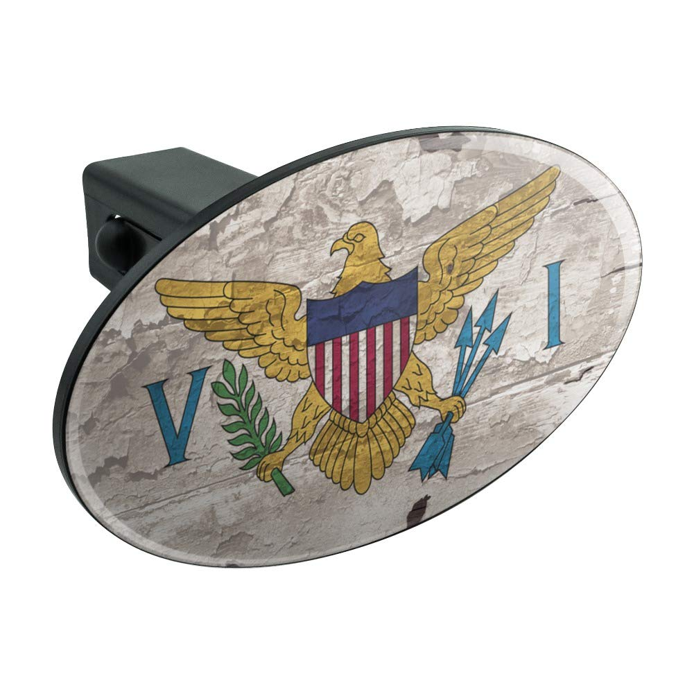 Graphics and More Rustic Distressed Virgin Islands Flag Oval Tow Trailer Hitch Cover Plug Insert