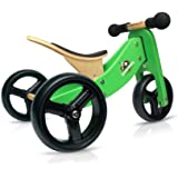 Kinderfeets TinyTot Wooden Balance Bike and Tricycle, Blue - 2 in 1