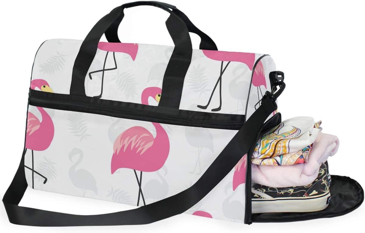 Travel Duffels Pink Flamingo Duffle Bag Luggage Sports Gym for Women /& Men
