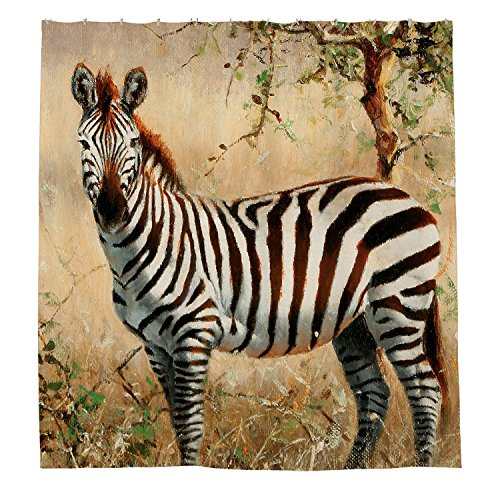 JKYUKO Gental Zebra Polyester Waterproof Shower Curtain, used for sale  Delivered anywhere in Canada