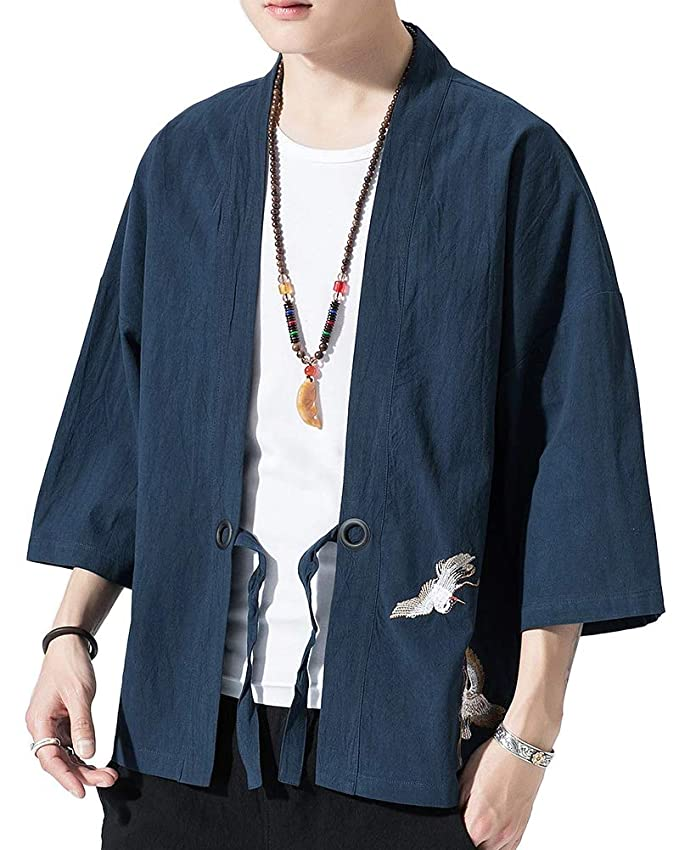 Hombre Chaqueta de Kimono Verano Casual Impresi/ón Suelta Chaqueta Haori Ocasional Outwear Cardigan Capa Delantera Abierta Juventud