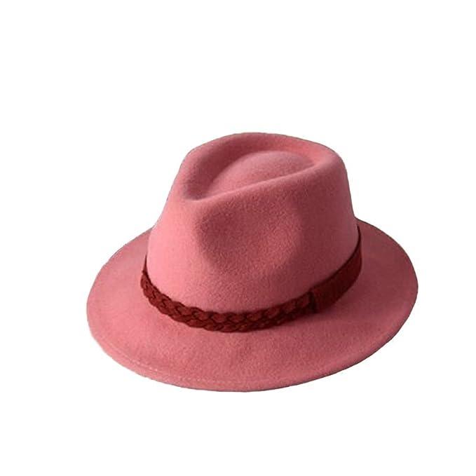 GEXING Chica Señoras Otoño E Invierno Rosa Cara Con Sombrero Sombrero De Jazz  Gorra De Bolos Casual 0fbaa274400