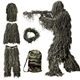 MOPHOTO 5 in 1 Ghillie Suit, 3D Camouflage Hunting Apparel Including Jacket, Pants