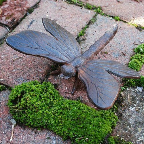 Cast Iron Dragonfly Garden Ornament Vintage Finish