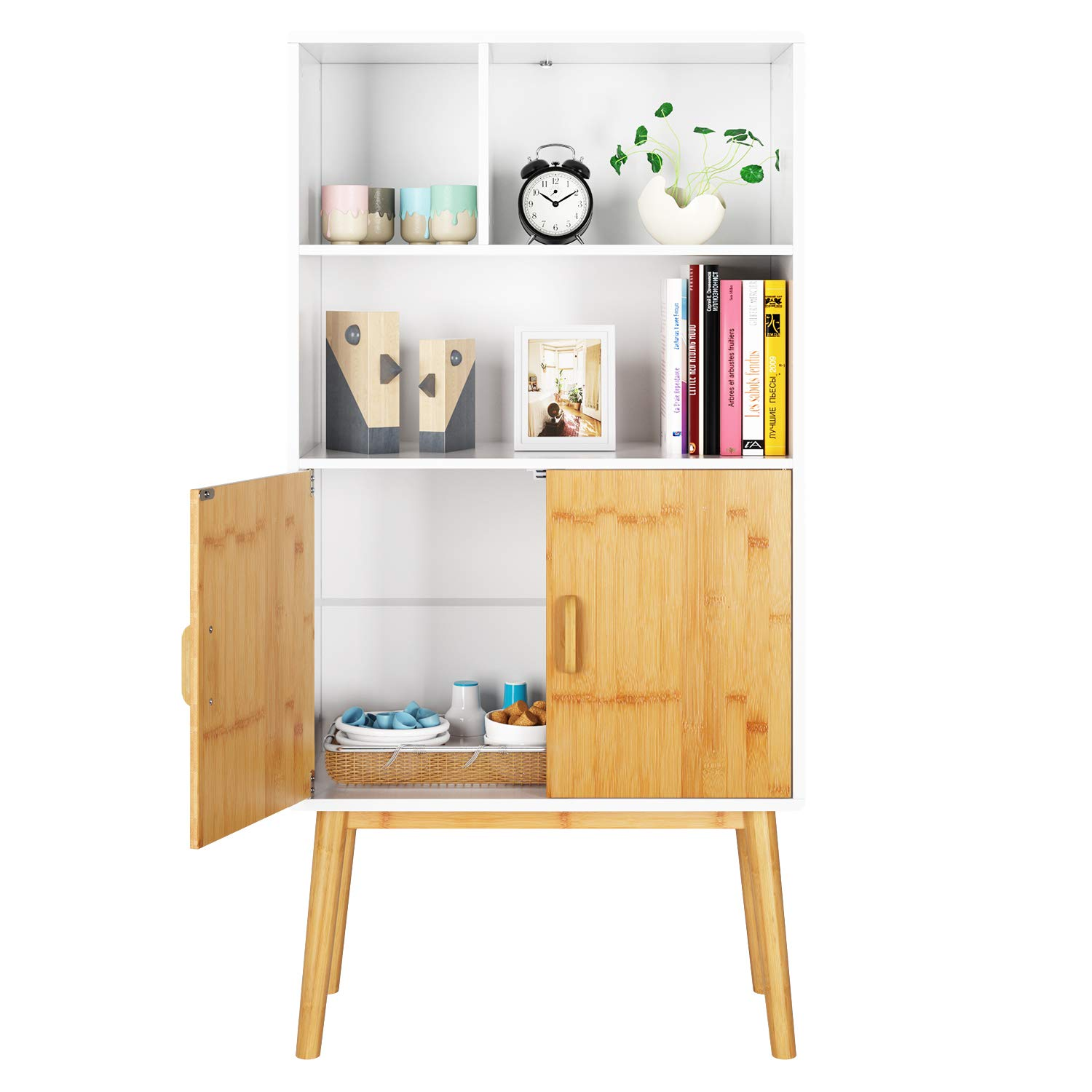 HOMECHO Storage Cabinet Sideboard Bookcase Shelf Floor Cabinets with Shelves 2 Doors Free Standing Cupboard for Home Office Study Bedroom, with Legs, White, HMC-MD-009 by HOMECHO