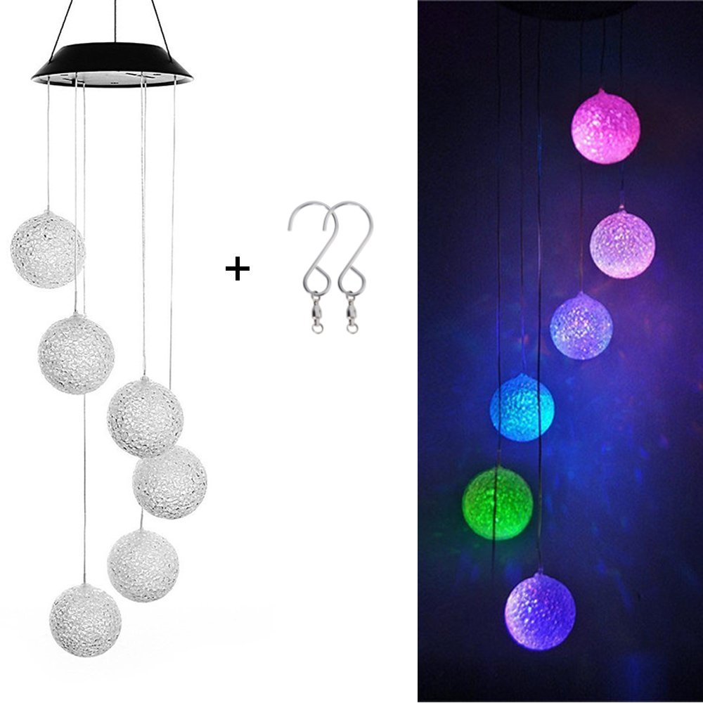 DEWEL Solar Wind Chimes 6 LED Decorative Light Multi-color Glow Ball Hanging lighting For Window Party Wedding Home Garden by DEWEL