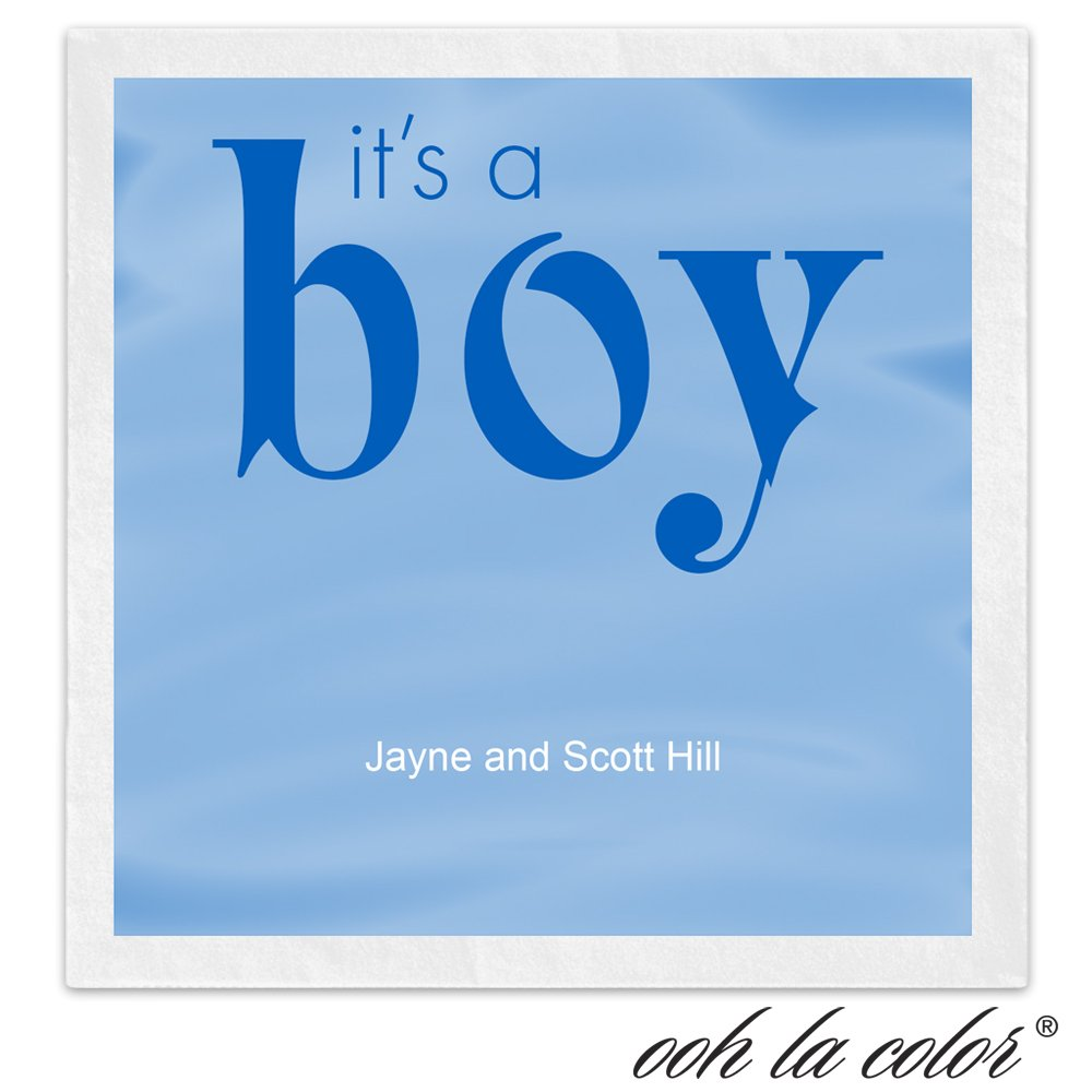It's a Boy Personalized Beverage Cocktail Ooh La Color Napkins - Canopy Street - 100 Custom Printed Paper Napkins