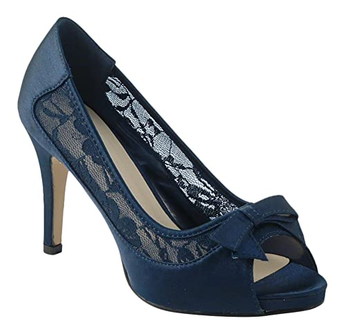 Chic Feet - zapatos de tacón medio, de mujer, azul marino,