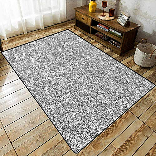 Outdoor Patio Rug,Black and White,Paisley Design with Sketch Style Flowers Leaves on Monochrome Background,Anti-Slip Doormat Footpad Machine Washable,6'6