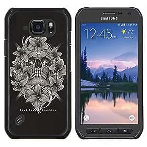 LECELL--Funda protectora / Cubierta / Piel For Samsung Galaxy S6Active Active G890A -- Cráneo Blanco Negro florales Muerte Huesos --
