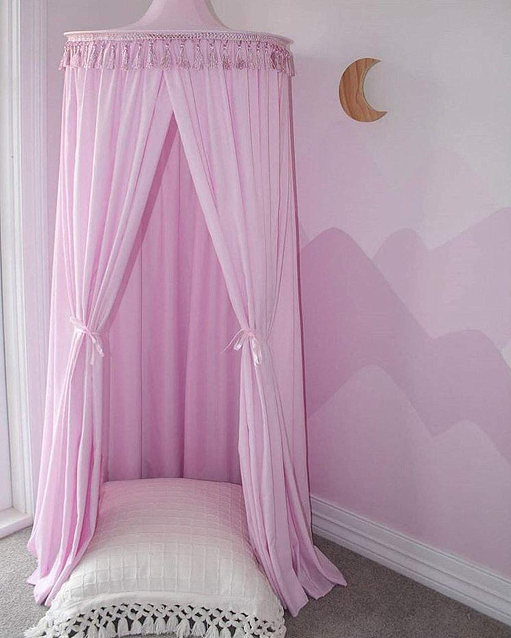 Cotton Mosquito Net Pink Bed Canopy for Reading Room 60240cm Kids Bedroom Decoration Big Size Cotton Bed Canopy Bed Canopy Round Dome with Tassel
