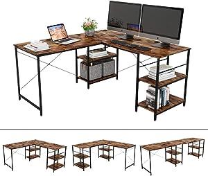 """Bestier L-Shaped Desk with Storage Shelves Adjustable 95.5"""" 2 Person Desk Modern Industrial Corner Computer Desk, Large L Desk for Home Office Student Writing Gaming Workstation, Rustic Brown"""
