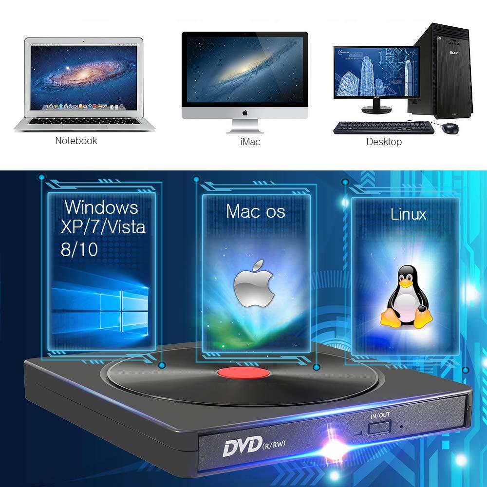 AMIGIK Masterizzatore Dvd Externo, unità CD Esterna USB 3.0 Tipo C Porta Doppia Lettore Ottico Portatile CD Dvd +/-RW Rom per Computer Portatile Taccuino Windows 10/8/7/XP, Linux, MacOS, Vista7/8