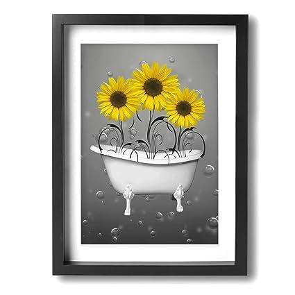 Cool Ale Art 12X16 Frame Bathroom Canvas Art Yellow Grey Sunflowers In Bathtub Bubbles Canvas Paintings Wall Art Decor For Living Room Bedroom Modern Interior Design Ideas Jittwwsoteloinfo
