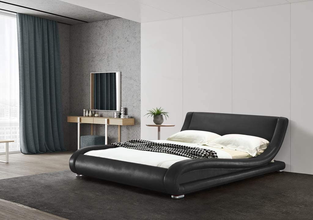 Greatime B1070 Contemporary Vinyl Platform Bed Twin, Black