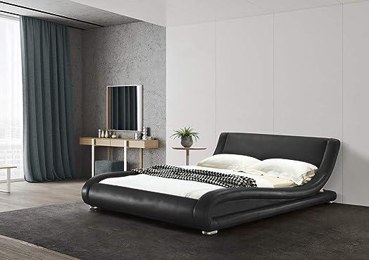 Greatime B1070 California King Black Comtemparay Upholstered Bed