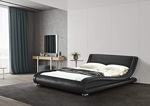 Greatime B1070 Contemporary Upholstered Bed Queen, Black