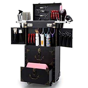 ASCASE Rolling Lockable Makeup Train Case Hairdressing Trolley Stylist Beauty Salon Cosmetic Luggage Travel Organizer Tool