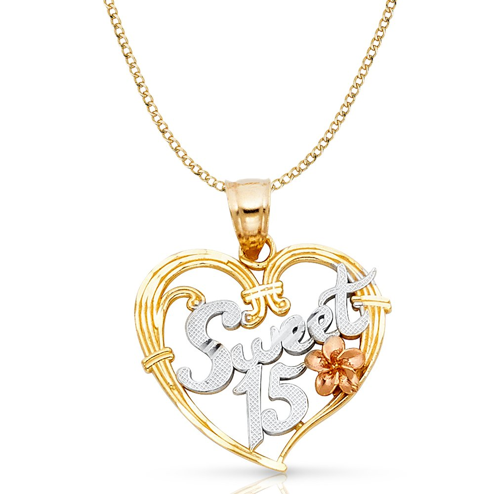 14K Tri Color Gold 15 Years Quinceanera Years Heart Charm Pendant with 2.3mm Hollow Cuban Chain Necklace