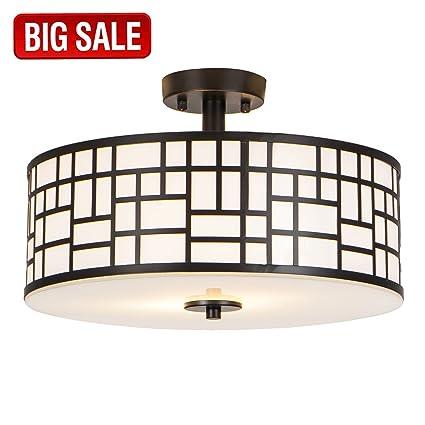3c90900b623 SOTTAE Elegant 2 Lights Glass Diffuser Black Livingroom Bedroom Flush Mount  Ceiling Light
