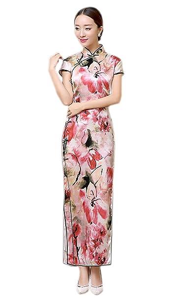 YueLian Mujeres Chino Seda Manga Corta Flores Rojas Largo Vestido de Noche Cheongsam Estampado Qipao (