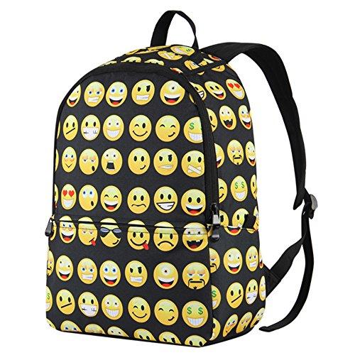 Hynes Eagle Printed Emoji Kids School Backpack Black