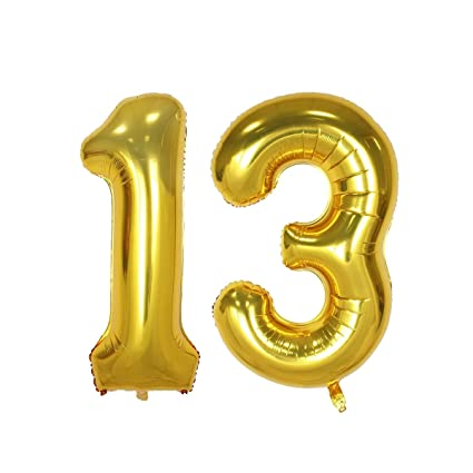 40inch Gold Number 13 Balloon Party Festival Decorations Birthday Anniversary Jumbo Foil Helium Balloons Supplies