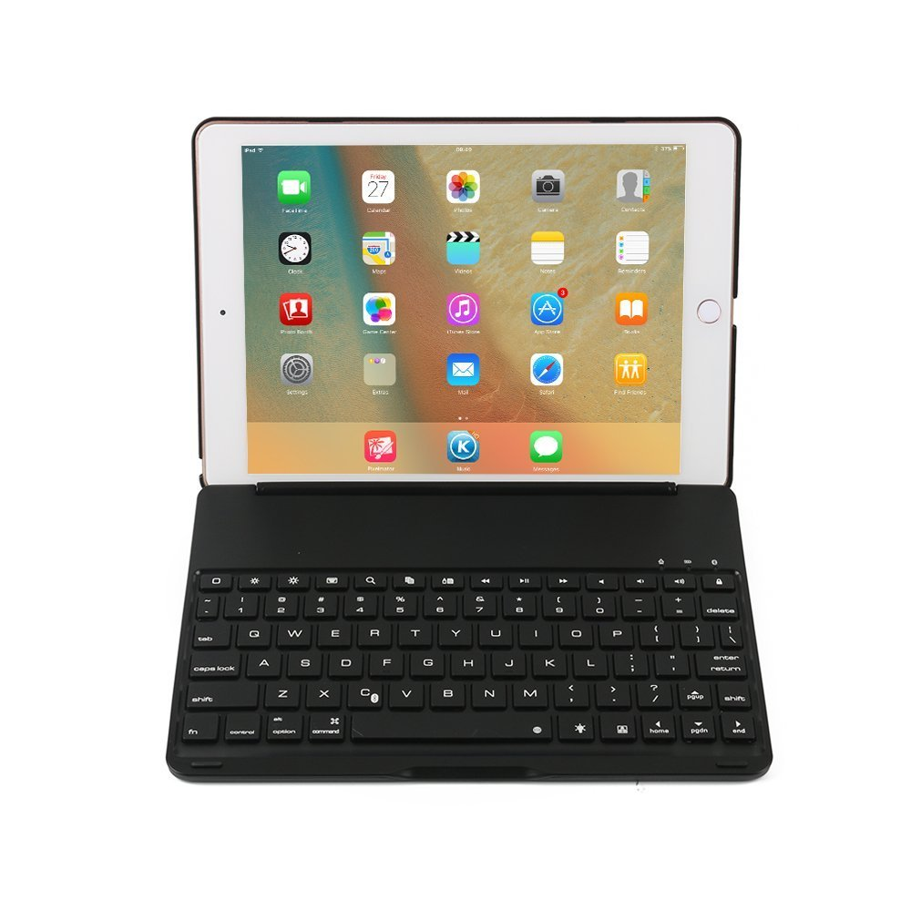 FuriGer Keyboard Case for iPad Pro 10.5, Bluetooth 7 Colors Adjustment Backlit Wireless Keyboard Ultrathin, Aluminium, Lightweight and Portable Cover with Auto Wake/Sleep - Black