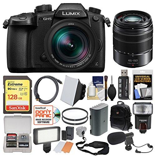 Panasonic Lumix DC-GH5 Wi-Fi 4K Digital Camera & 12-60mm f/2.8-4.0 with 45-150mm Lens + 128GB Card + Backpack + Flash + Video Light + Battery + Kit