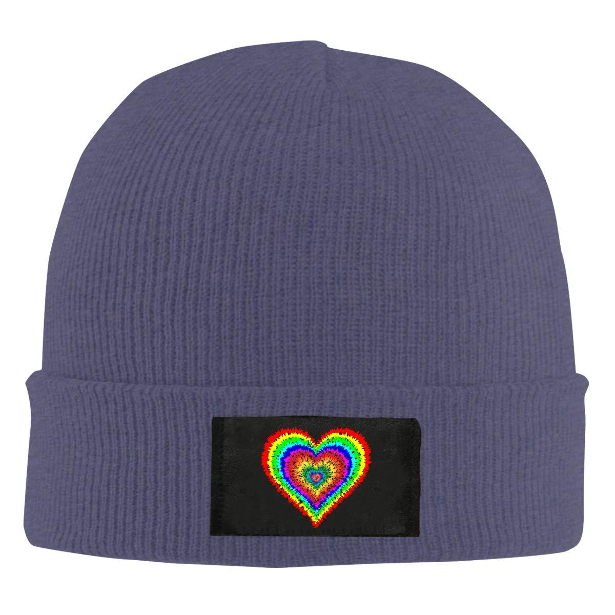 Tye Dye Heart Men /& Womens Knitted Hat Winter Warm Skull Cap